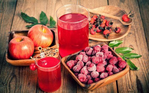 малина и яблоки