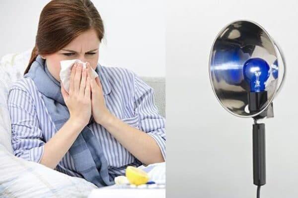 прогревание носа синей лампой